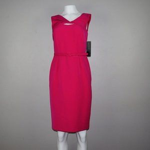 Jones New York Hot Pink Belted Pencil Dress Size 2